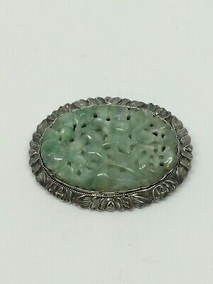 Antique Chinese Import Silver And Carved Green Jade Broach Signed 1920's