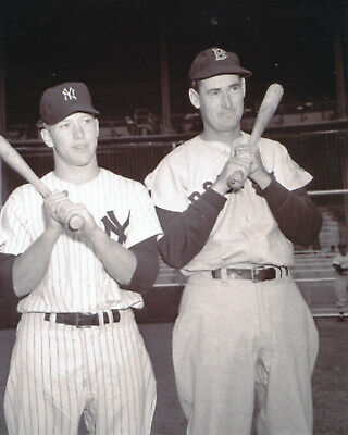 mickey mantle yankees and ted williams red sox 8x10 photo