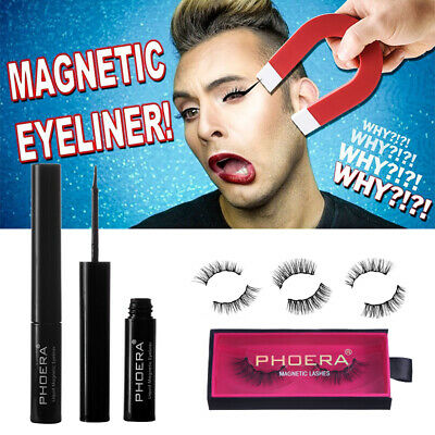PHOERA MAGNETIC Lash Eyeliner KIT Liner 4D 3D Eyelash Liquid No Glue Easy Fake