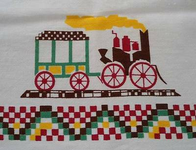 """Vintage Printed Cotton Tablecloth Red Train People Horse Buggy Turkey Unused 34"""""""