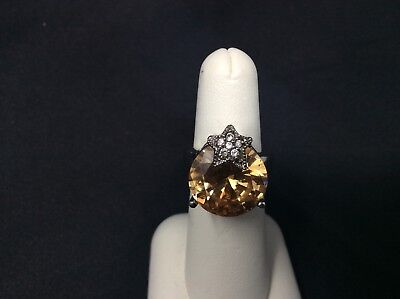Honey Topaz Round Stone With a Star Stamped 925 Silver Ring Size 5 3/4