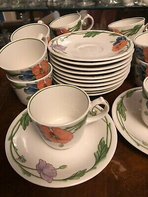 12 Villeroy & Boch Amapola Cups and Saucers - Mint Condition