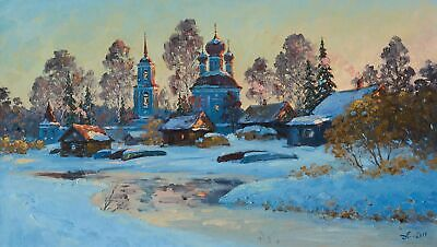 VILLAGE KRAVOTYN, SPRING landscape by ALEXANDROVSKY, Original oil Painting
