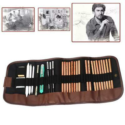 18X Sketch Pencils Charcoal Pencil Paper Pen Eraser Set for Drawing Sketching NG