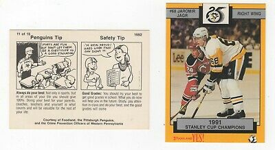 1992 Foodland Pittsburgh Penguins 1991 Stanley Cup Champions Police card 11 Jagr