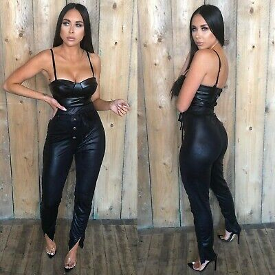 Womens Wet Look PU Leather Buttons Leggings Ladies High Waist Trousers Pants