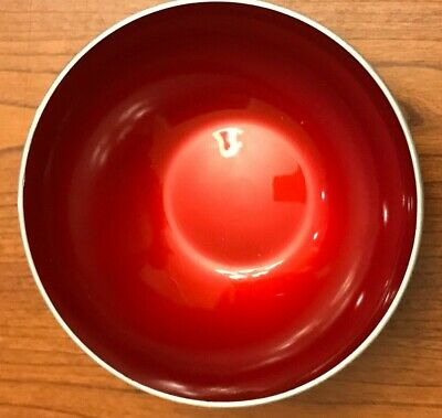 "Vtg 5"" Emalox Norway Enamel Bowl Red Anodized Aluminum With Label Mid-Century"