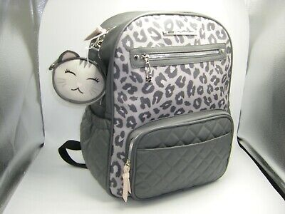 Betsey Johnson Diaper Backpack Gray Leopard 3 Piece Set Backpack Pad Bag Charm