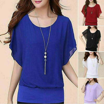 2019 Women's Ladies Casual Loose Chiffon Long Sleeve Blouse Tops Fashion T-Shirt