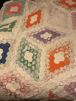 Colorful Vintage Cutter Quilt 60x76 Ragged Crafts