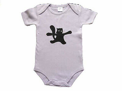 Baby Body Kalle Fux Handmade Hand Printed Lilac Animal Cat Black Size 74/80