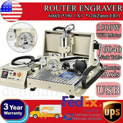 6040Z Engraving Machine 4 Axis Engraver Usb Cnc Router Metalwork Milling 1500W