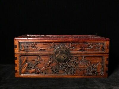 """16"""" Chinese old Antique huanghuangli wooden handcarved landscape wood box"""