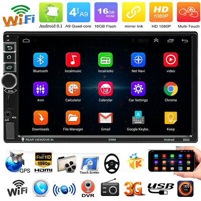 """4-Core Android 8.1 3G WIFI 7"""" 2DIN Car Stereo MP5 MP3 Player GPS BT FM AM Radio"""