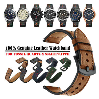 20mm 22mm Premium Genuine Leather Watch Band Strap Bracelet for Fossil Watch
