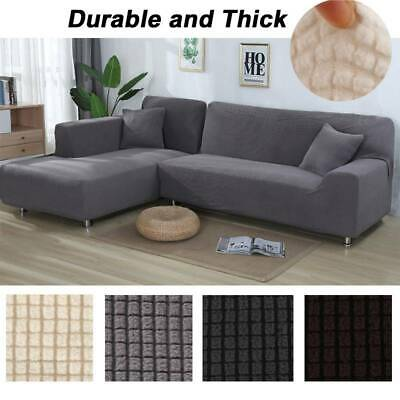 2X L Shape Stretch Sofa Slip Lounge Covers Couch Washable Protector Slipcover AU