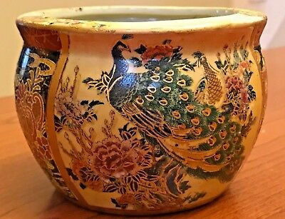 "Royal Satsuma Vintage Japanese Painted Bowl Planter Peacocks Flowers Gold 3""x4"""