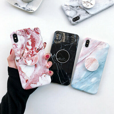 Luxury Marble Pattern Case Airbag Stand Covers For iPhone XS Max XR 6 7 8 Plus