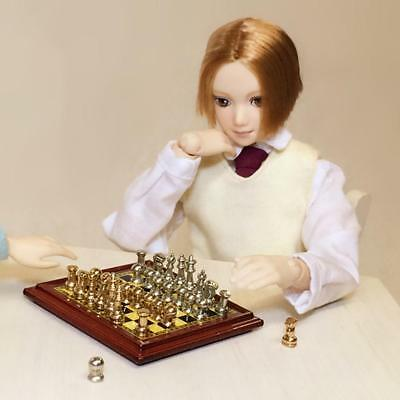 112th Scale Doll House Miniature Vintage Silver Gold Chess Set Pretend Toy