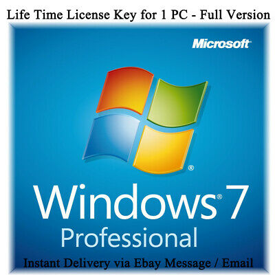 Microsoft Windows 7 Professional Pro 32 & 64 Bit License Key Full Version