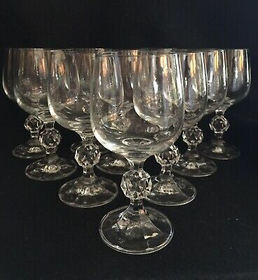 "Bohemia Crystal CLAUDIA Set of 11-,5 6/8""  Water Or Wine Goblets Ball Stemware"