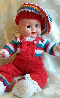 """Roddy Baby Doll 14"""" high in knitted overalls - sooo cute!! -Post free to Aust"""