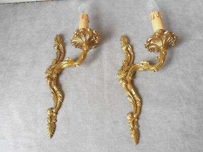 PAIR of Vintage French BRONZE  WALL Light SCONCES