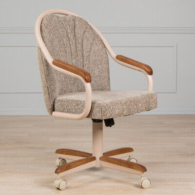 Casual Dining Chair Cushion Swivel and Tilt Rolling Caster Oak Wood Arm and