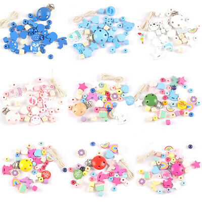 1 Set Pacifier Chain Clip DIY Making Accessories Baby Color Wooden Beads Jewelry