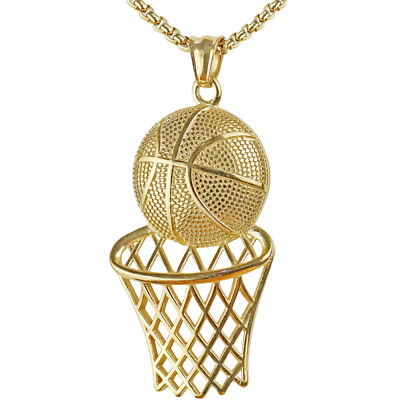 Basketball Hoop Pendant Necklace Men Long Chain Necklace Sports Hip Hop Jewelry