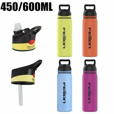 Stainless Steel Vacuum Insulated Water Bottle Water Drink Flask With Straw Lid