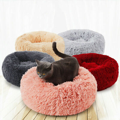 Pet Dog Cat Round Nest Warm Soft Plush Comfortable~Calming Mat Bed for Sleeping