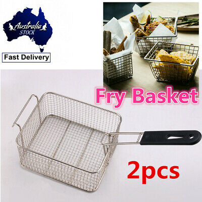 Deep Fry Fryer Basket 205 x 185 x 105mm Chrome Plated Reinforced Handle Kitchen