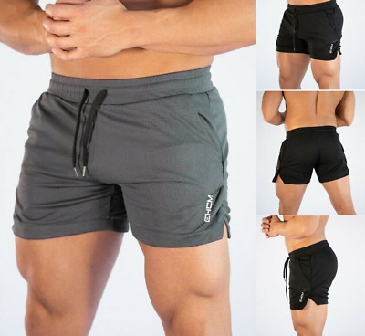 a86064320 Men Swim Fitted Shorts Bodybuilding Workout Gym Running Tight Lifting Pants  UK