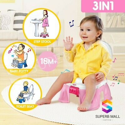 3in1 Baby Toddler Toilet Trainer Kids Music Potty Training Safety Seat Chair PK