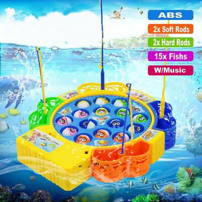 UK Electric Music Rotating Magnetic Fish Go Fishing Game Kids Educational Toy