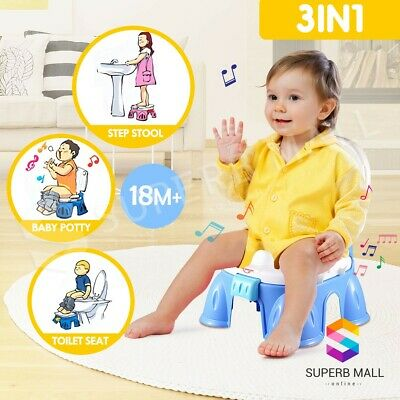 3in1 Baby Toddler Toilet Trainer Kids Music Potty Training Safety Seat Chair BL