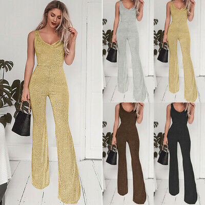 Women Sleeveless V Neck Jumpsuit Slim Summer Causal Office Romper Flared Trouser