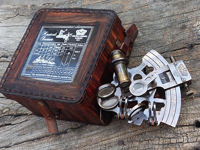 Solid Brass Sextant With Handmade Leather Case-Marine Gift-Astrolabe