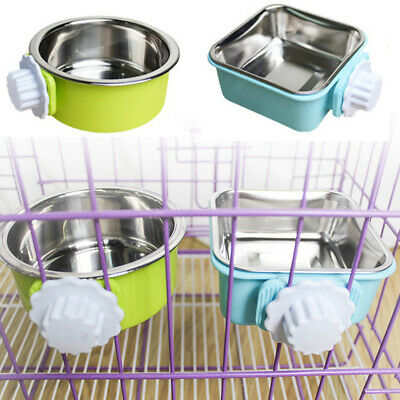 Hang-on Bowl Metal For Pet Dog Cat Crate Cage Food Water Bowl Stainless Steel UK