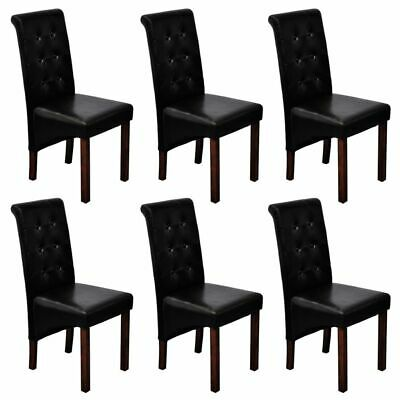 2/4/6 Black Dining Side Chairs Tufted Scroll Back Artificial Leather Kitchen
