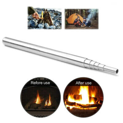 Outdoor Camping Emergency Blow Fire Tube Telescopic Pipe Survival Tool Nice