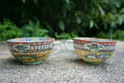 2 Pcs Antique Chinese Porcelain Hand Painted Dragons & Yellow Tea Cup - Marks #1