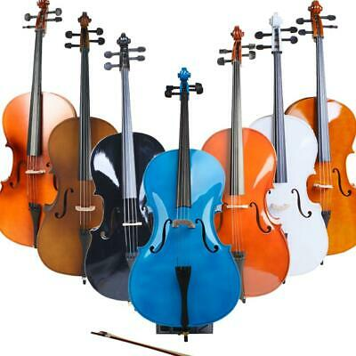 1/2 3/4 4/4 Size Basswood Acoustic Cello +Case+Bag+Bow+Rosin+Bridge