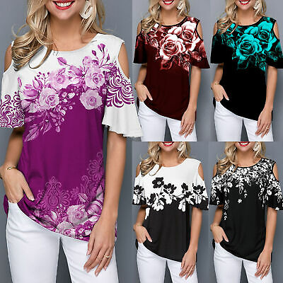Womens Cold Shoulder Floral Loose Blouse Ladies Summer Casual Tops Tee T-Shirt