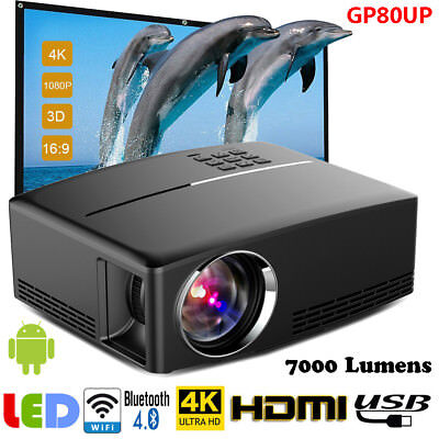 Multimedia 4K Smart WiFi Android Bluetooth 3D LED Projector Home Cinema 10000LM