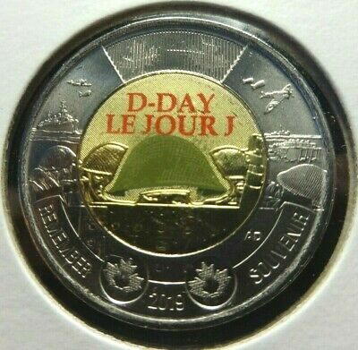 Canada 2019 Two Dollar (Toonie) 75th D-Day Le Jour J  Colour Coin 28 mm