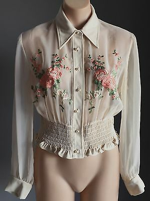 Vintage Sheer Cream Floral Embroidered Long Sleeve Shirred Waist Blouse Size 10