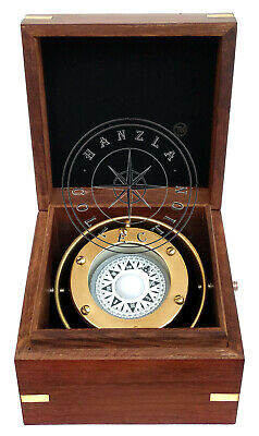 Vintage Brass Binnacle Compass Ship Boat Gimbal in Anchor Inalid Wooden Box