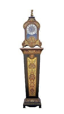 Vintage Franze Hermle Quarter Chiming Faux Boulle Pedestal Bracket Clock